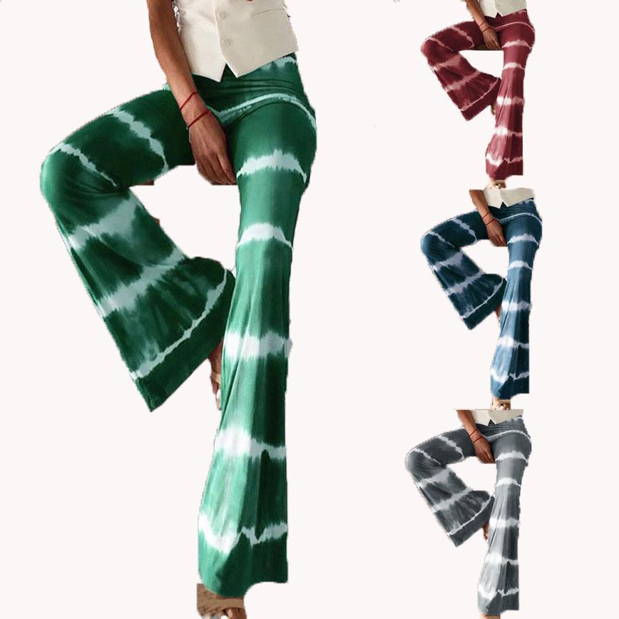 Muchachas ocasionales de los pantalones de cintura alta de la llamarada Mujeres Moda Bell Bottom Impreso colmenas de la llamarada de teñido pantalones pantalones