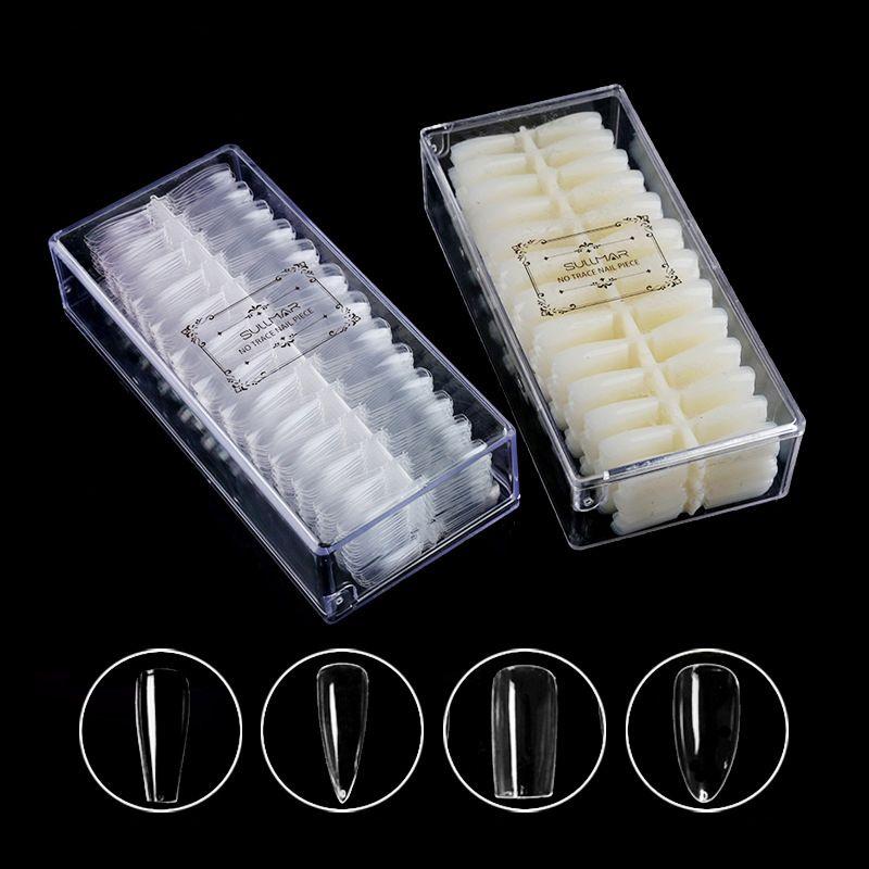 False Nails 500 шт. Professional Бесшовные Полный Крышка Прозрачный Искусственный дизайн Ногтей Натуральный Цвет Красота Маникюр Практика Инструменты