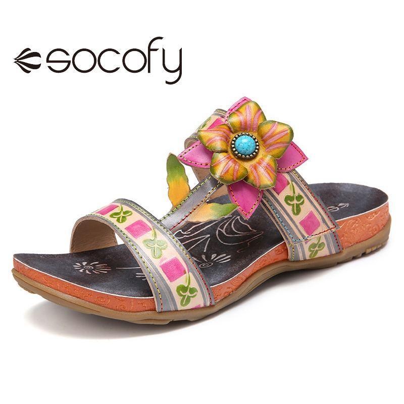 SOCOFY femmes Sandales en cuir Décor floral perles flip plat Flops Slides Fourreaux Sandales plates Casual Chaussures d'été en plein air 2020