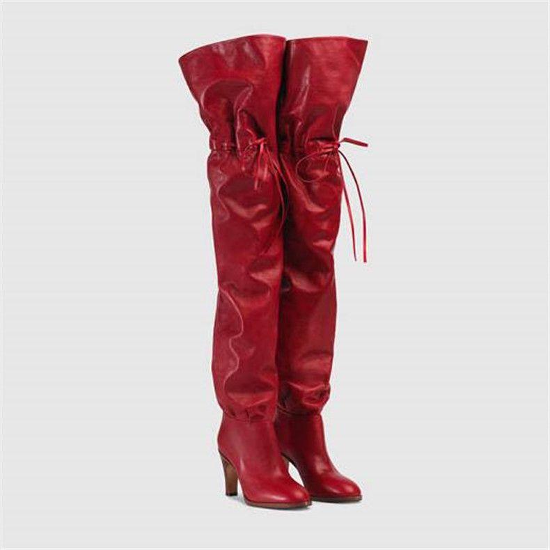 Nuovi Elastic Band Alto Stivali Red High Heel inverno stivali sopra il ginocchio Casual Shoes