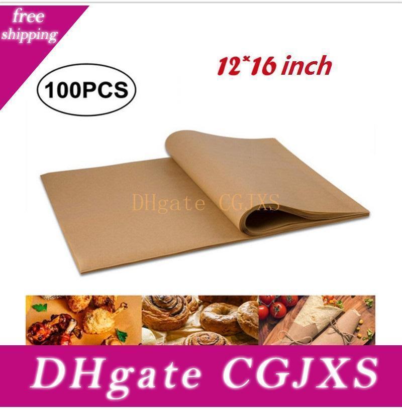 12x16inch papel óleo de silicone não -Stick Steamer Pot Pad papel de pergaminho Retângulo Bbq bolo Paper Baking Pan Liners