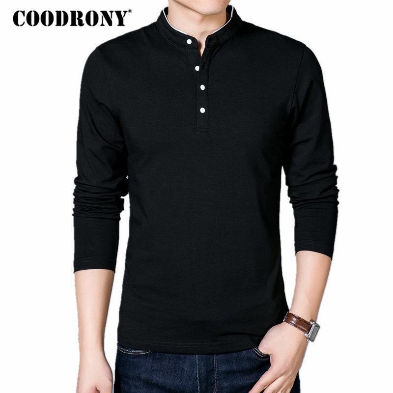 COODRONY T-Shirt Männer 2020 Frühlings-Herbst New Cotton T-Shirt Männer-Normallack-chinesische Art Mandarin Kragen Langarm-Spitze T 608