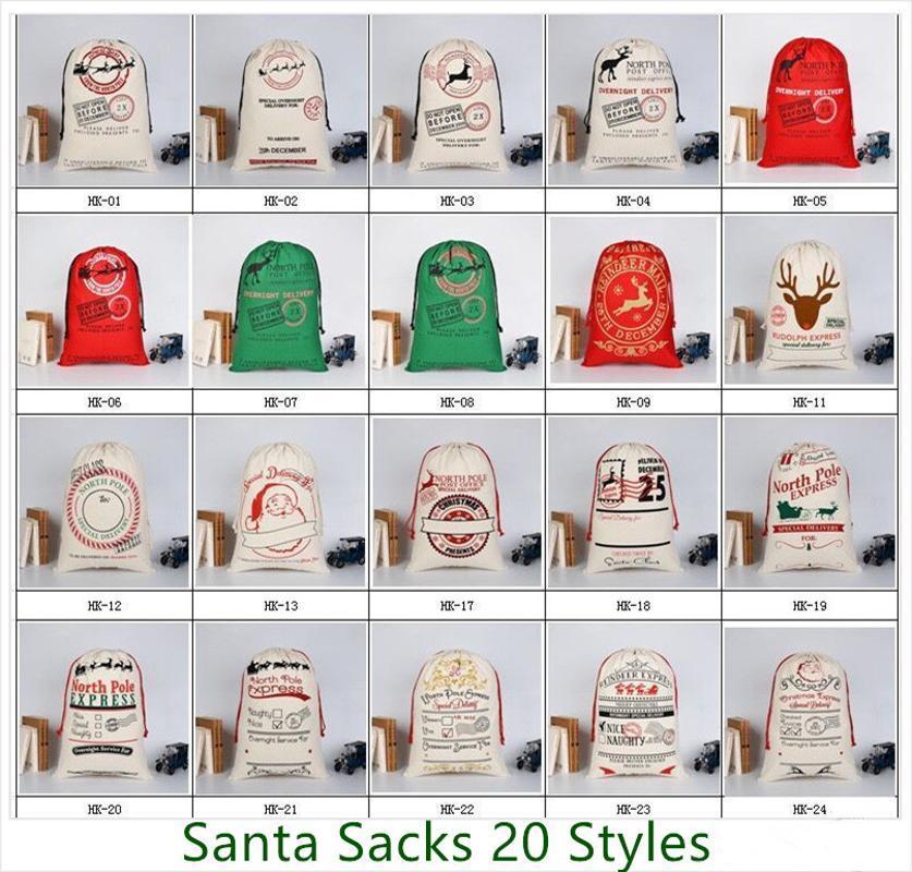 20 قطع 32 أنماط قماش سانتا كيس عيد هدية أكياس للبيع بالجملة كبير سانتا كيس الرباط هدية حقيبة شحن سريع