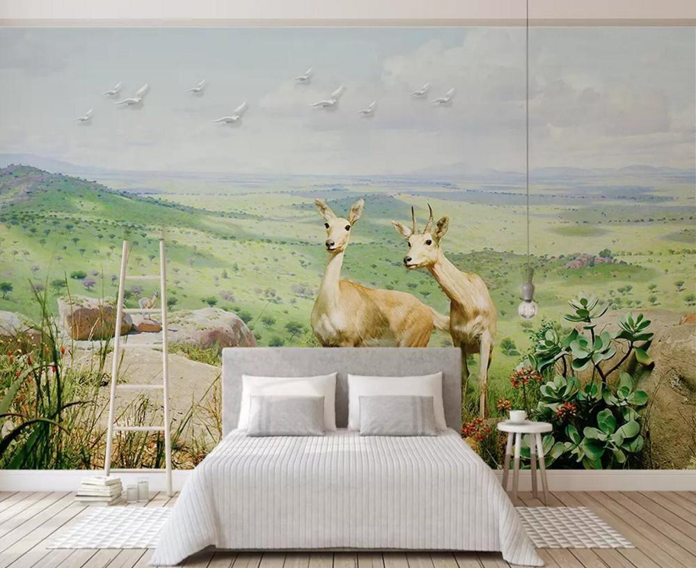 [Autoadhesivo] 3D ciervos en la pradera 184255 Papel Mural Impresión de la pared Decal murales