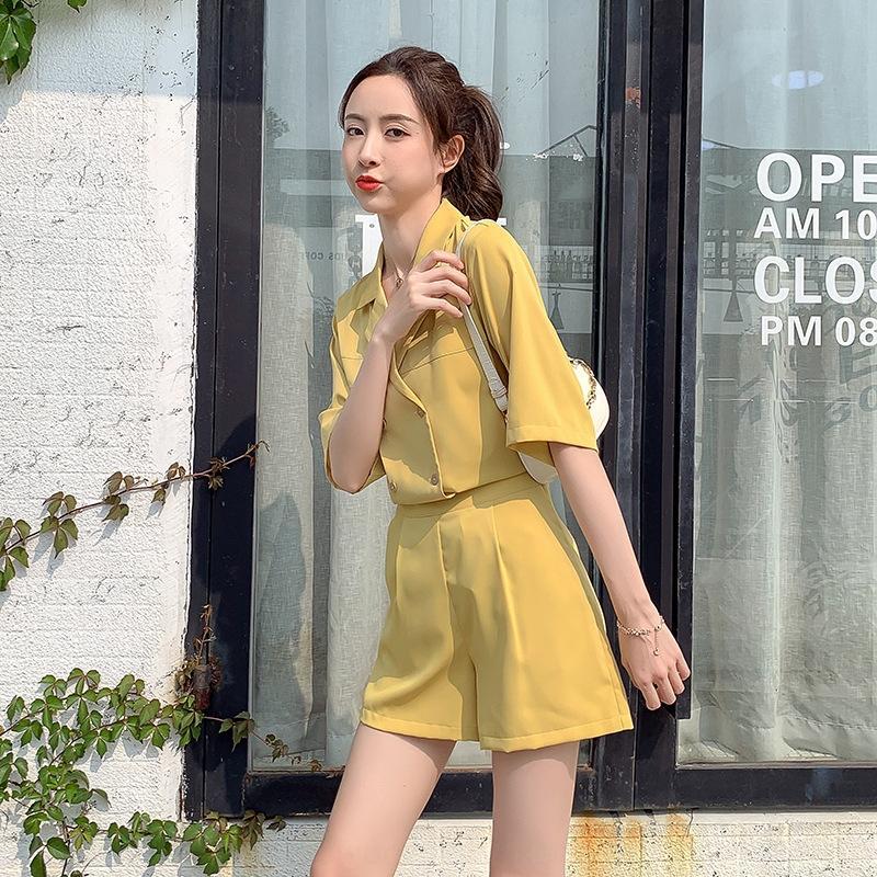 Coréen des femmes de qOHeV Summer Style 2020 nouveau petit style occidental Shorts professionnel jupe vieillissement mode costume costume deux pièces