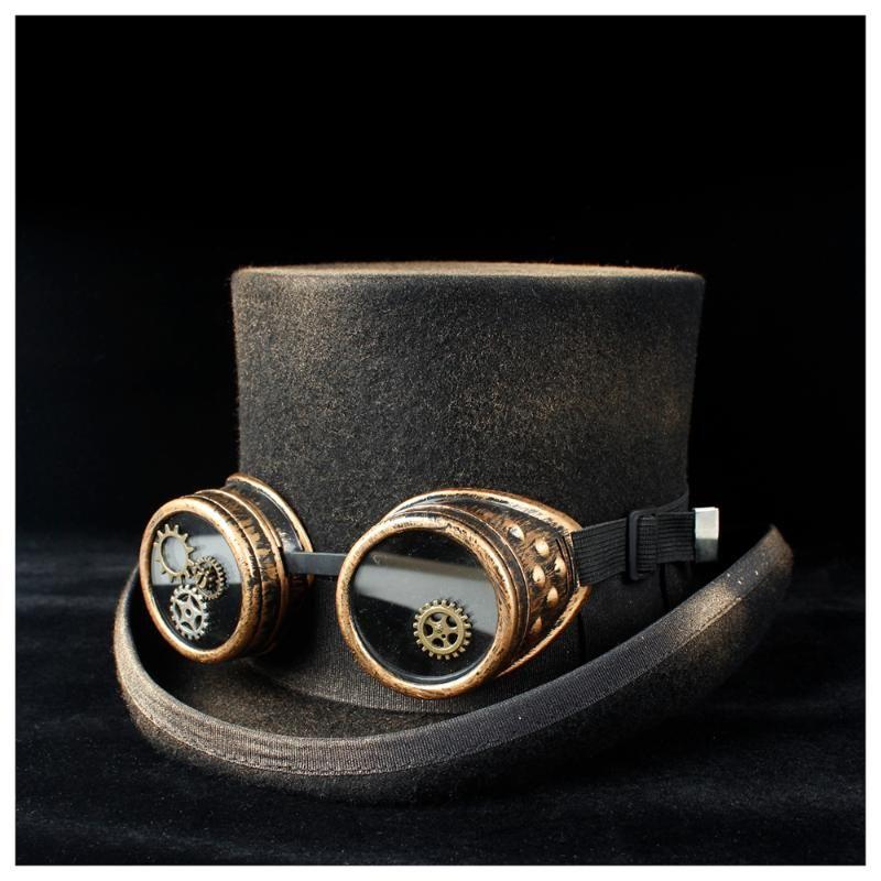 % 100 El yapımı Yün Kadın Erkek Steampunk Top Hat ile Punk Dişli Gözlük Topper Duş HatMad Şapkacı Sihirli Şapka