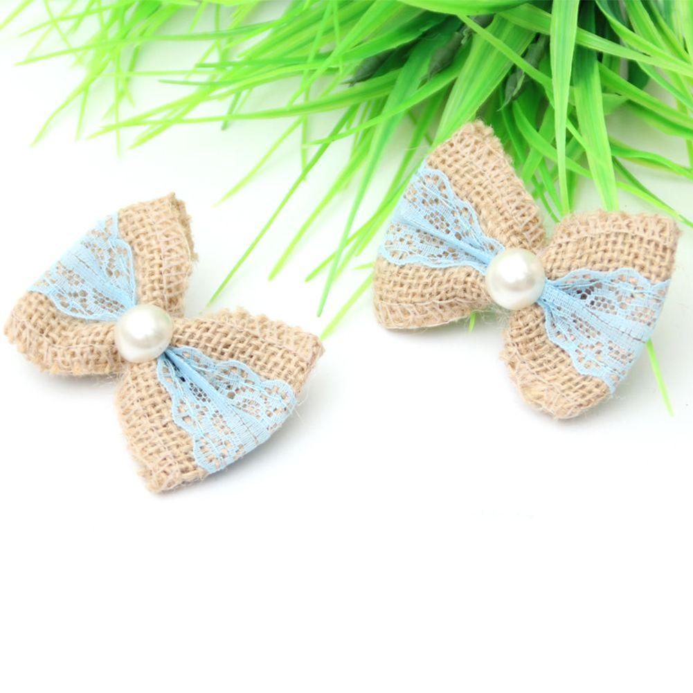 10pcs Rustic Com Pérola DIY Mini Lace Ribbon Artesanato Decoração bowknot serapilheira
