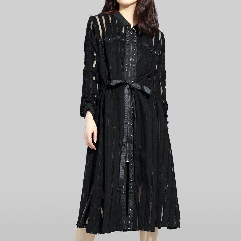 2020 Yeni Bahar Yaz Kadın Elbise Standı Yaka Uzun Kollu Siyah Çizgili Perspektif Fermuar Gevşek Moda Tide Harajuku Giyim