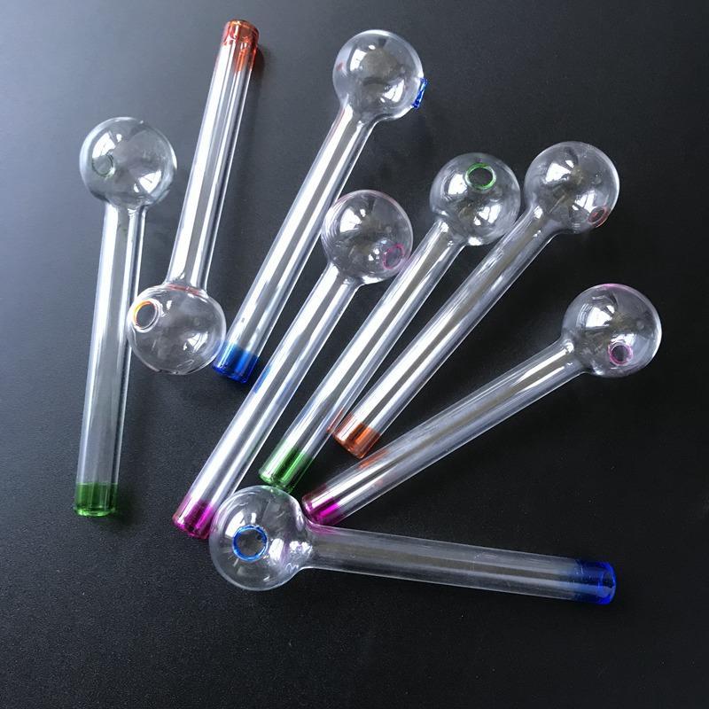 10 PC를 파이렉스 석유 버너 파이프 여러 가지 빛깔의 작은 손 스트레이트 튜브 담배 연기 유리 파이프 SW17 파이프 흡연
