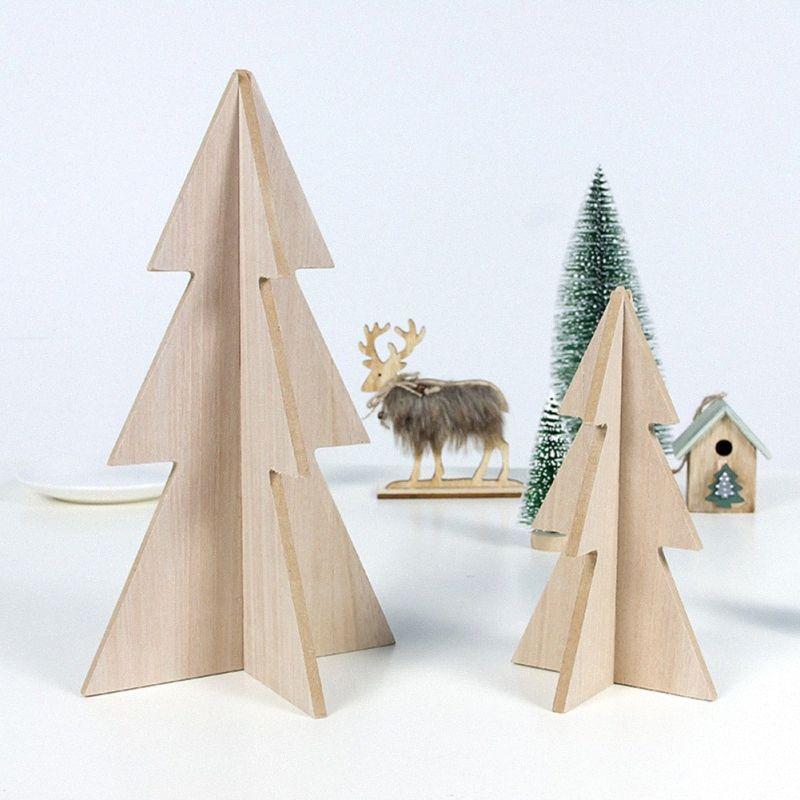 Decorazione albero di Natale in legno di Natale Xmas Tree casa Table Desktop Decor decorazione del partito della casa per feste Buon tWSv #