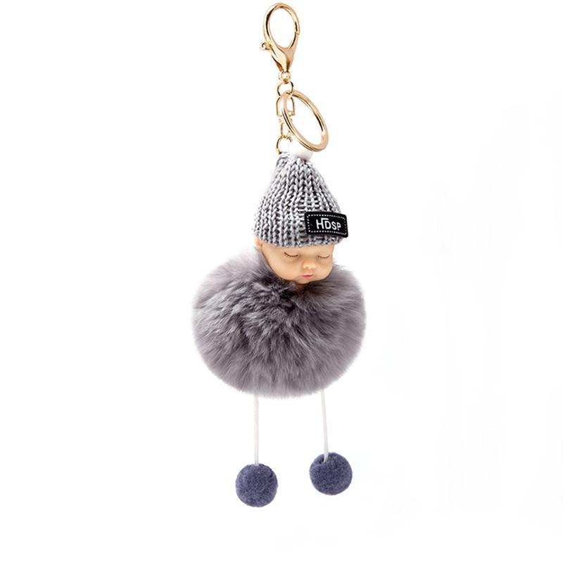 Key chain cute key ring bag pendant car interior pendant plush sleeping doll soft fur ball cute FR2