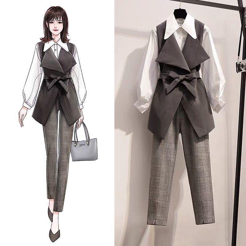 2020 tute lavoro pantaloni ol insieme delle 2 parti per le imprese delle donne più la camicia di formato i pantaloni oversize vestito per le donne set signora dell'ufficio abiti T200821