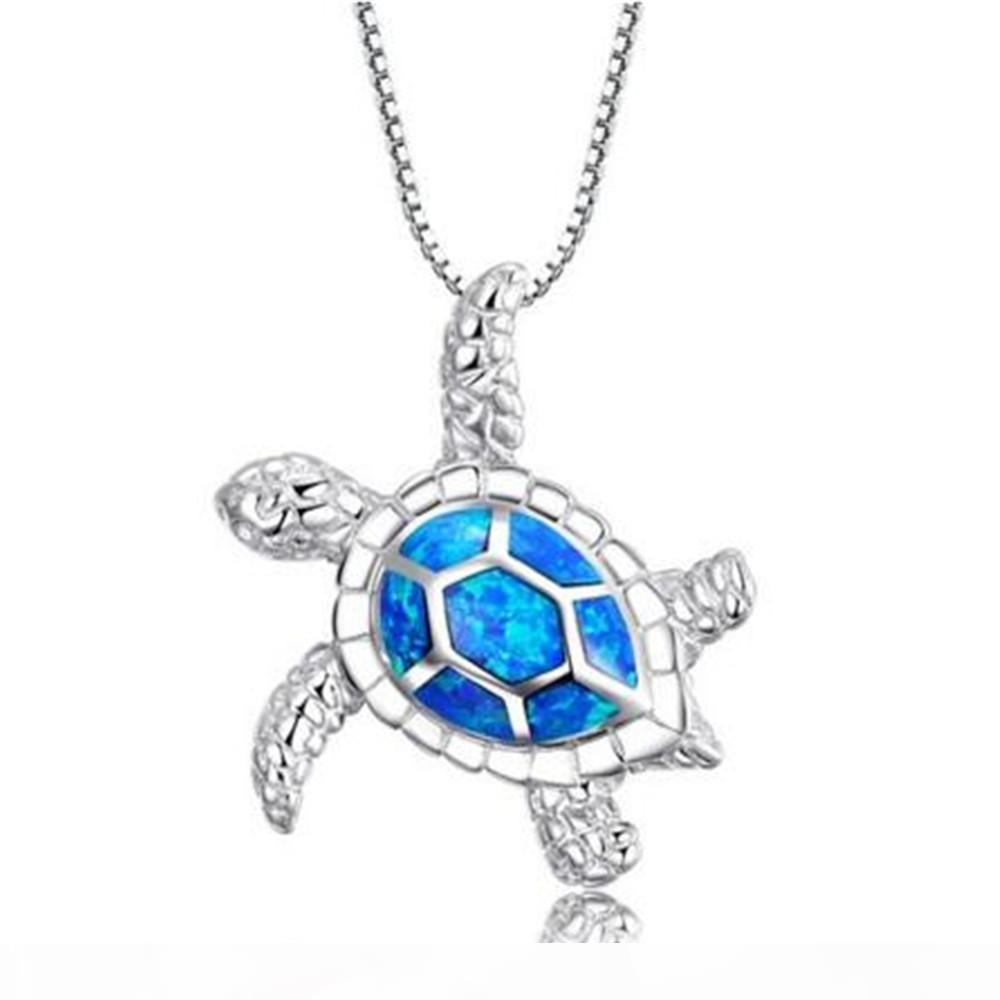 """Natural Blue Sea Turtle 925 Sterling Silver Pendant Necklace Fashion Jewelry Charm Best Quality 1 1 8"""" INCH Free Shipping"""