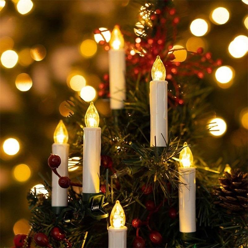 New Years LED Candles Flameless Remote Taper Candles Led Tea Light for Home Dinner Party Christmas Tree Decoration Lamp Y200109