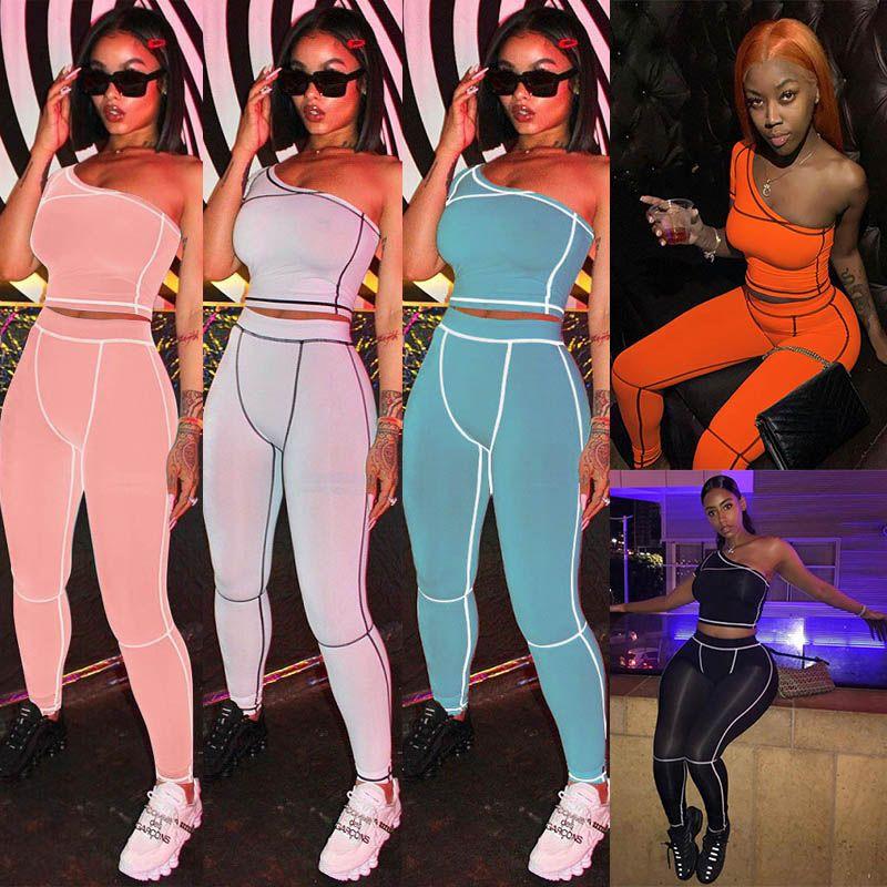 clubwear giysiler koşu egzersiz 2 iki parçalı eşofman seksi Bir Omuz kırpma üst tozluk pantolon kıyafetler seti jimnastik Yoga Spor takım elbise womens