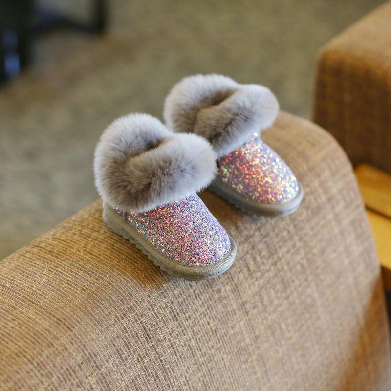 Claladoudou 12-18CM 어린 소녀 블링 블링 눈 부츠 1-2-3-6 세 여자 아기 발목 부츠 회색 아기 신발 유아 부티 (11) CX200825