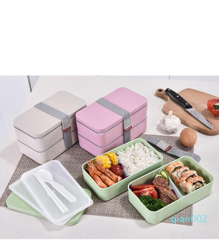 Изолированный Японский Bento Lunch Box два слоя питания Prep Контейнеры Многоразовые 2 Делители для хранения продуктов Ящики для детей взрослых BPA бесплатно