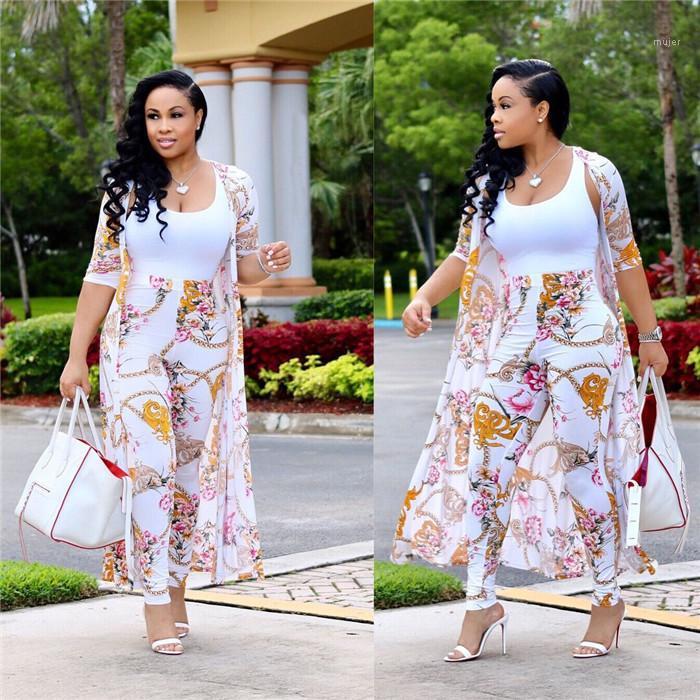Tracksuits Ferien Langarm-Cardigan Damen Kleidung Blumen Lässige Kleidung Frauen Sommer Designer 2Pcs Strand-Art-Druck