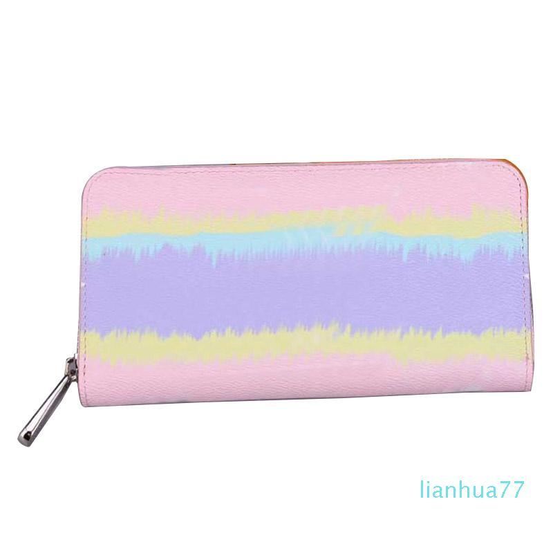 Diseñadores-6 colores diseñador Monedero de lujo de la marca para mujer Monederos Escale largo Zippy carteras señora forro de cuero genuino carteras de lona