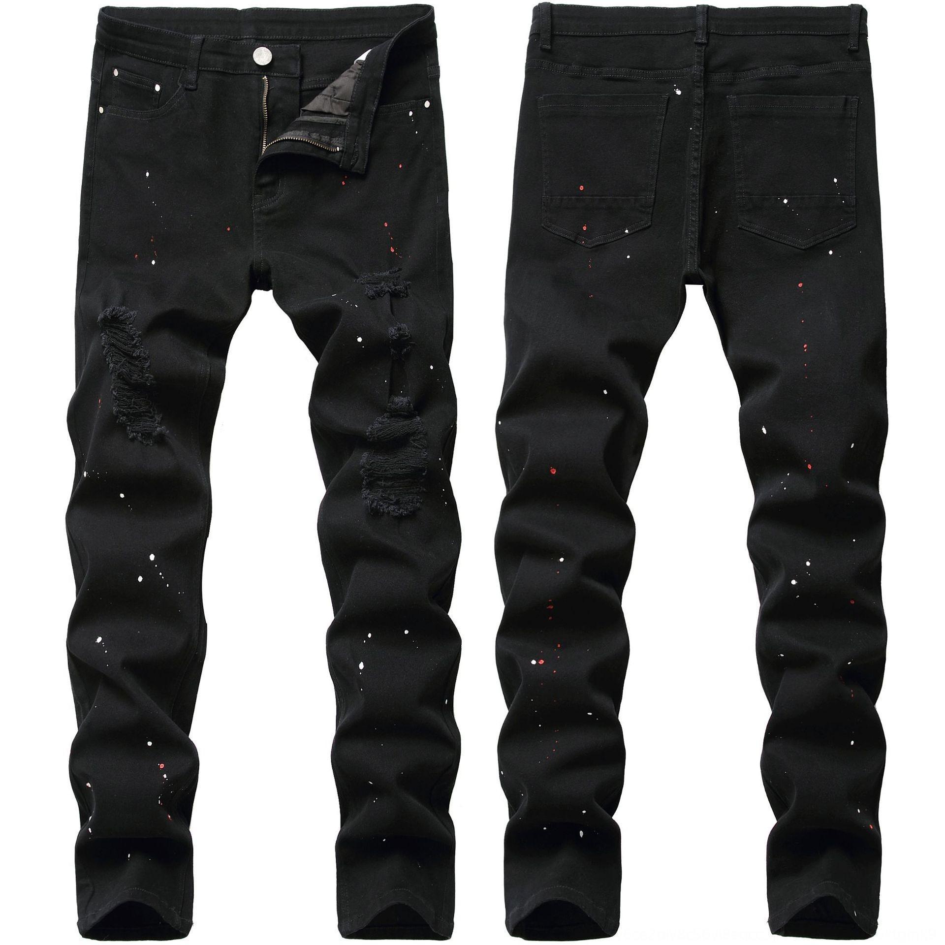 Noir nouveau jeans 2020 peinture enlever à la mode Jeans et pantalons et pieds pantalons pantalons pour hommes étirent pantalons pour hommes minces de ClNo8