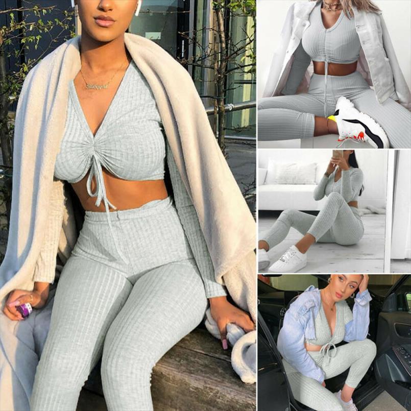 Fashion Damen Stricken Crop Top Bottoms gesetzten Frauen 2pcs Lounge Partei Anzug Anzug Frauen Langarm Hosen Outfits