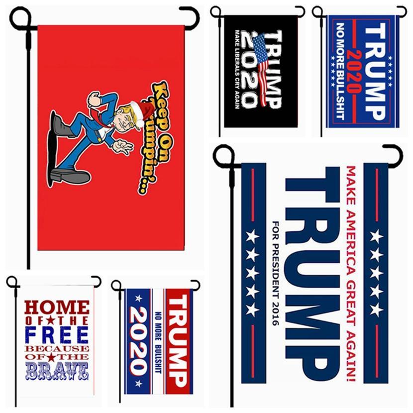 30 * 45cm Trump Flag 2020 Amercia Presidente Banner Campaign Ployester Garden Donald Bandiere Decor bandierina Trasporto libero HHA1462