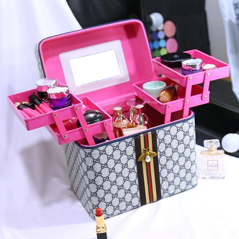 scatola capacità bagCosmetic sacchetto bagshaping portatile caso più strati scatola di immagazzinaggio custodia in pelle di PU YRcoH