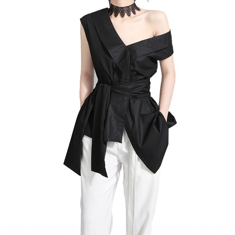 UUQQE 2020 primavera estate e l'arco manica stile di design di nicchia cinghia tendone coreano farfalla Top camicia irregolare delle donne crossbody 279