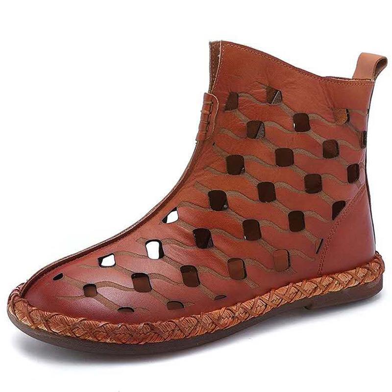 Fermé Toe Bottes femmes sandales plates Automne Zipper Rome Fashion Cut-out Botas Mujer Ladies Sandales d'été pour les femmes Chaussures WSH3677