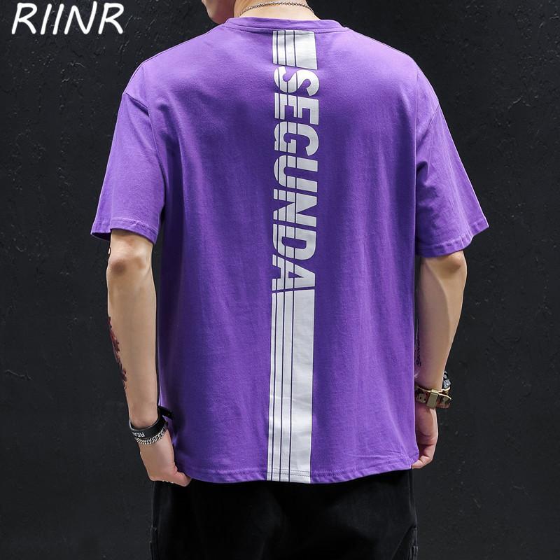 Riinr 2020 Yaz Kısa kollu tişört Erkekler Yuvarlak Yaka Moda Marka Gevşek Büyük Beden Casual Geri Letter Baskılı Tişört