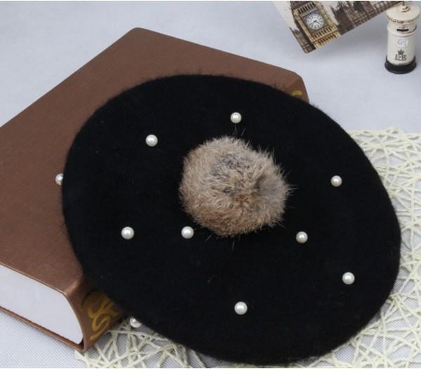Pearl palla di pelo 1-2 anni per bambini in stile giapponese e coreano berretto di lana Beret cappello di lana Beilei Beilei cappello di lana delle ragazze