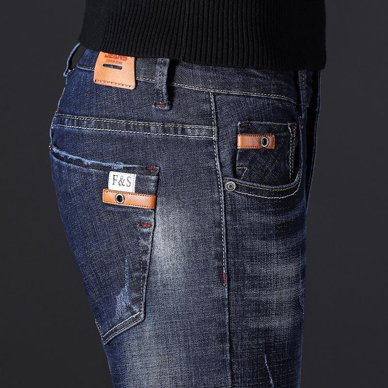 xH9Fy lbIWq джинсов темного мужской осень Корейский стиль прямые свободный случайный случайные джинсы и 2020 мужских брюки стрейч ультра-тонкие брюки