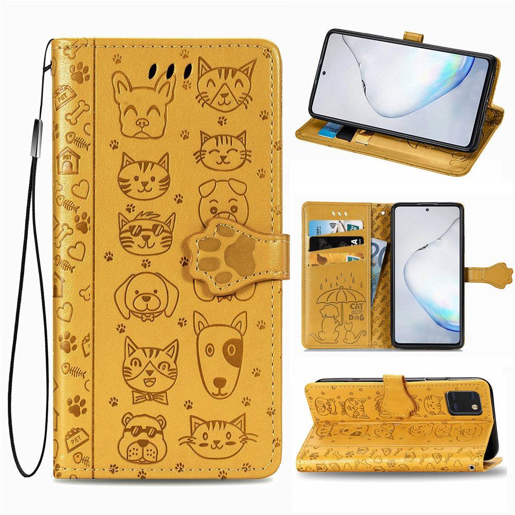 Pour Samsung Galaxy A81 cuir PU mignon de chat et de chien anti-dérapant intrados et extrados Surface magnétique Boucle Dragonne (Modèle: A81)