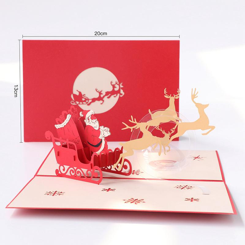 Fashion Creative Christmas Greeting Cards Simple Hollow Handmade Paper Card Red Christmas Greeting Cards for Gift