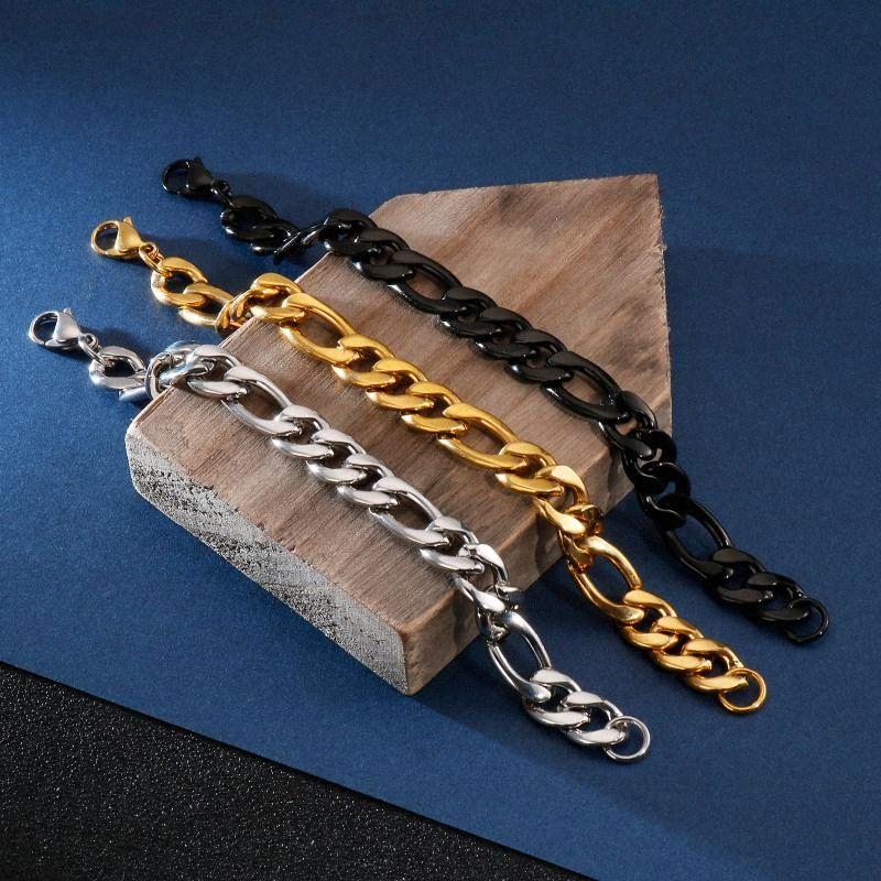 12 milímetros de largura de prata ouro negro Figaro Pulseiras para homens Pulseira Cadeia Pulseira Pulseira Moda Jóias Acessórios Bijoux conc #
