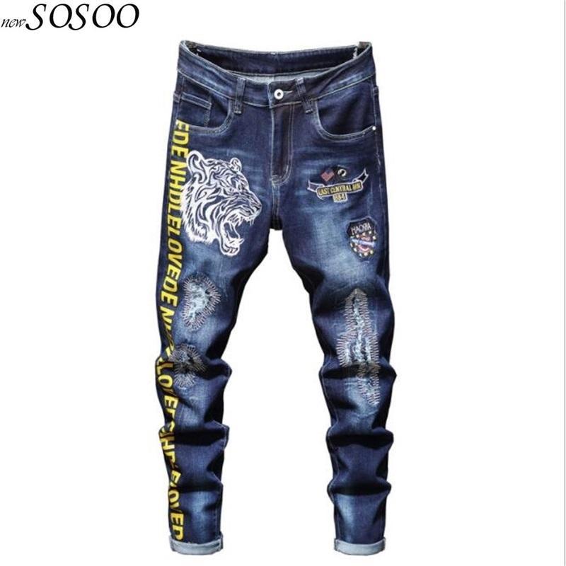 Novos Homens Jeans 100% algodão clássico Tiger Bordados Beggars calças jeans Arrefecer Top Quality Moda Jeans Frete grátis # 2031 MX200814