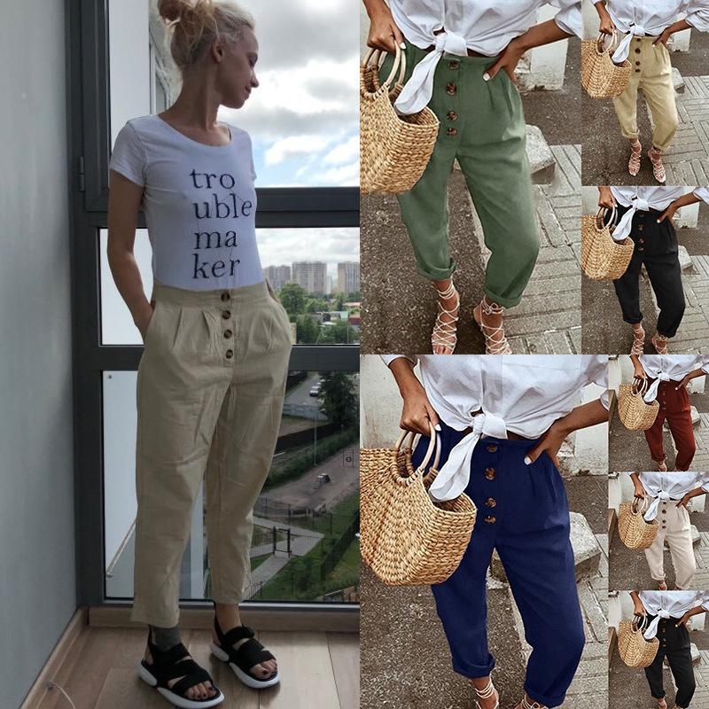 Les cheveux raides occasionnels coton rue et lin casual pantalon cheville lâche pantalons longueur cheville