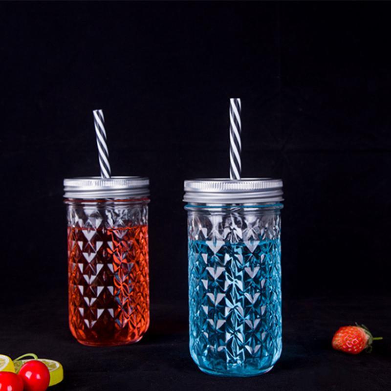 Кубок Mason Прозрачное стекло бутылки Овощной салат Jar с крышкой соломы Завтрак Сок стекла Стро Кубок тумблеры IIA445