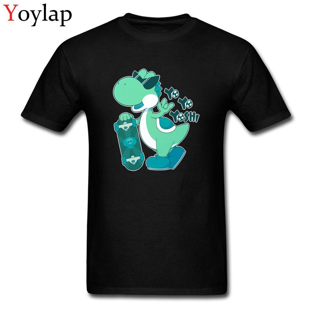 Yo Yo Skater Yoshi T-shirt drôle de conception pour l'homme de bande dessinée mignon dinosaure t-shirts chemises noires XXXL