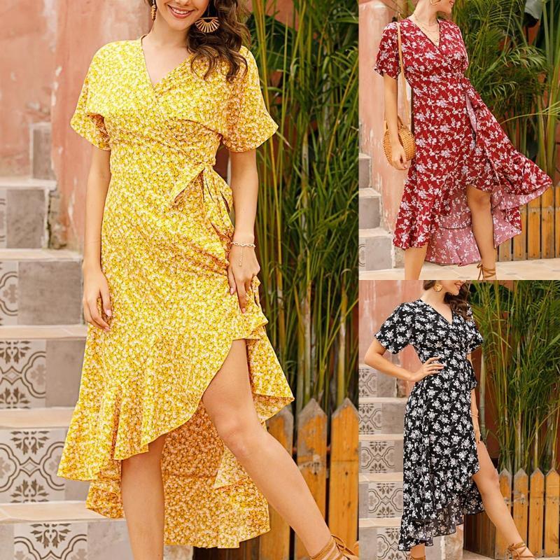 Summer chiffon dress floral print ruffled irregular dress Fashion Womens Casual Loose Sexy Short-sleeved Small Fresh