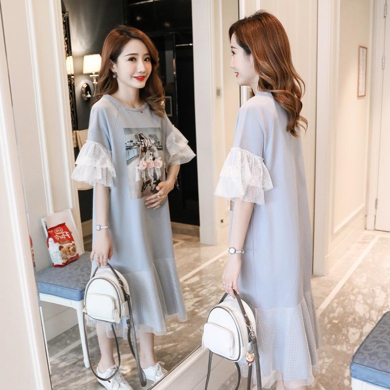4lnlQ Беременные женщины 2020 новой женской сетка рукав средней длина платье рыбьей хвост платье юбка хлопок футболка женщин шить рыбий хвост юбка половины