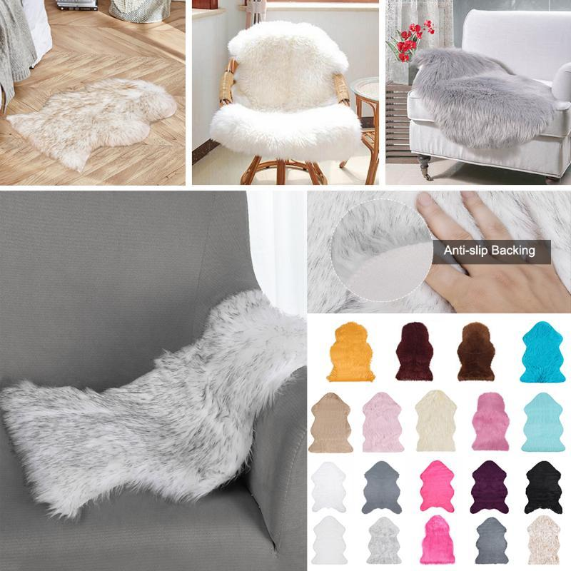 Fausse fourrure en peau de mouton de fourrure de Tapis Fluffy Tapis Canapé Chaise Coussin Salon Chambre Couverture antidérapante Tapis 40x60cm 60x90cm
