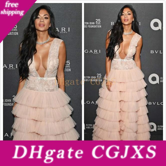2020 Arabisch Aso Ebi Rosa Sexy Günstige Abendkleider mit tiefem V -Neck Spitze Promkleider Tiers formaler Partei-Zweiter Empfang Kleider Vestidos