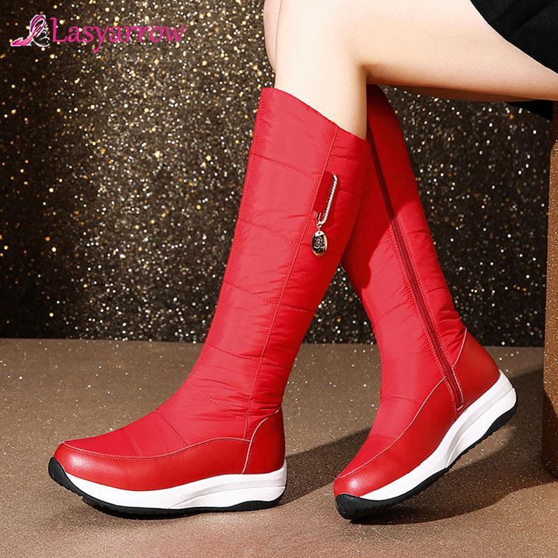 Lasyarrow 2020 botas de couro genuíno mulheres zipper botas grossas de inverno pele luz mid plataforma inferior bezerro quente mulheres neve