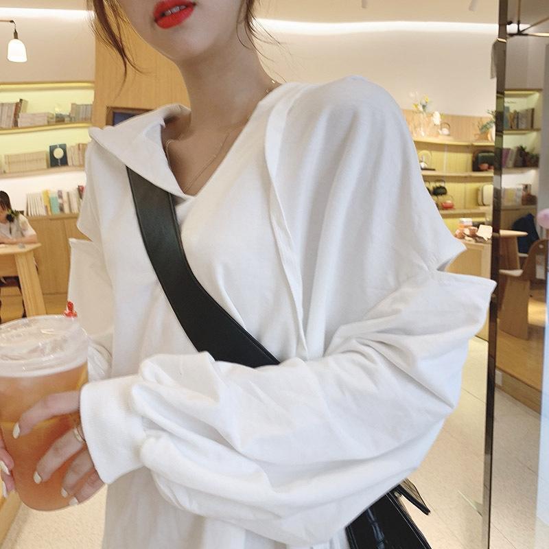 camisola 2019 nova moda all-jogo de comprimento médio grayshoulder celebridades Internet das mulheres pullover Top pullover solta parte superior encapuçado