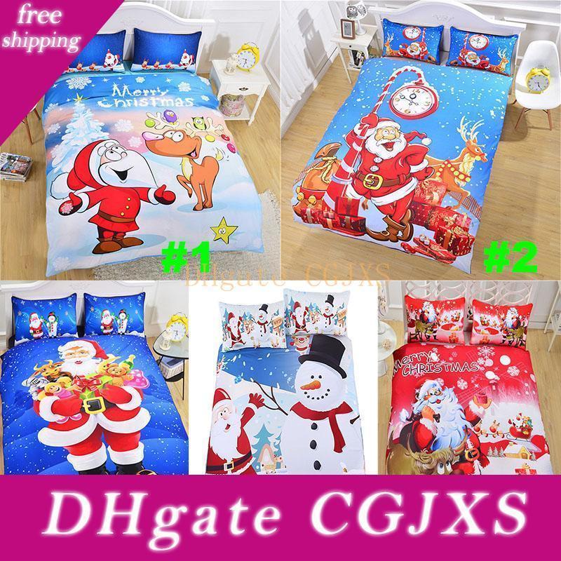Christmas Bedding Sets 3d Printed 3pcs /Set Duvet Cover Pillowcases Santa Claus Snowman Christmas Decoration Gift Free Dhl Hh7 -1789