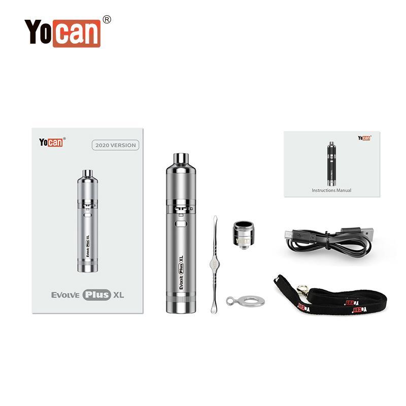 Version Authentic Yocan Evolve Plus XL Kits Wax Vaporizer Pens 1400mAh Vape Dab Pen Kit QUAD Coil Huge Vapor 6 olors