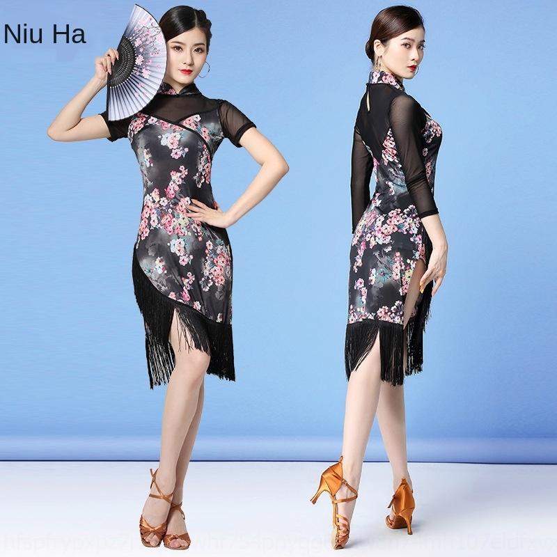 wHFvM yIE24 Huayu Qipao Qipao Habituelle Nouvelle salle de bal d'automne de danse latine habituelle maille danse performance costume pratique costume pompon dres