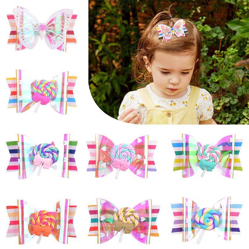 INS 3.5 pulgadas arco del bowknot niñas pinzas para el cabello niñas mariposa barrettes piruleta accesorios niños BB clip de niña de pelo al por mayor B1805