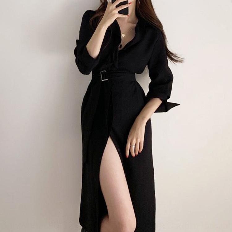 pt09k coreana camisa elegante vestido francesa ligero elegante para vestir la camisa mitad de la longitud de la correa del sentido del diseño de las mujeres solteras de pecho QxNYS